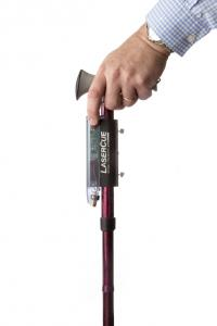 The LaserCue Attachment Module can be attached to virtually any cane.