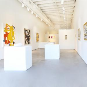 Exhibit by Aberson gallery with abstract paintings by John Paul Philippe and Aaron Wexler