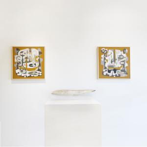 Installation view of John Paul Philippe paintings in Exhibit by Aberson Gallery