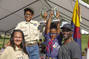 Tyrie Tyrie Milazzo, 11, and his sister Ka'Marionah, 7, took the Boy Scouts and Cub Scouts trophies while earning their fishing merit badges.Milazzo, 11, and his sister Ka'Marionah, 7, took the Boy Scout and Cub Scout trophies while earning their fishing merit badges.