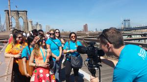 Nicole Faccio with her fundraising team, In Pizza We Crust, at the Brooklyn Bridge in September 2016