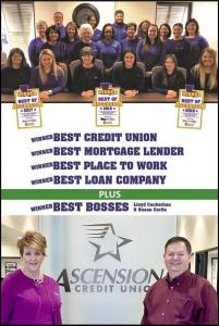 Credit union staff celebrates wins in five categories in 2019 Best in Ascension voting.