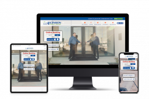 three screen display of Ascension CU's website demonstrating fully mobile responsive capabilities.