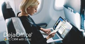 Sophistciated mobile professional using DejaOffice Sync on an Airplane