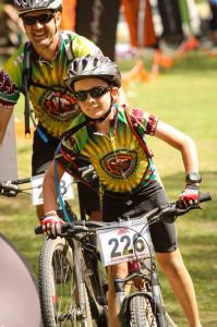 Kids and parents mountain biking