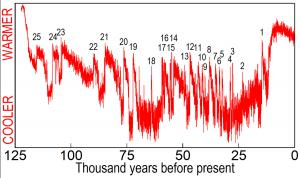 Twenty-five sudden warmings observed in ice cores from the summit of Greenland.