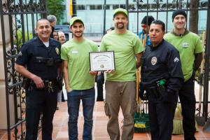 The L.A. Police Department recognized the volunteers with a Certificate of Appreciation for their work.
