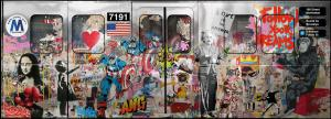 "Mr. Brainwash ""Subway"" 2019, Mixed Media on Aluminum, Plywood and Plexiglass Multi Panel Train, 72x200in."