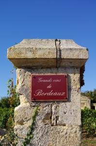 Stone sign of Bordeaux vineyard
