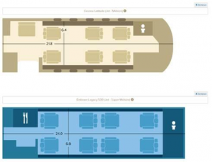 Image 1- Guardian Jet Aircraft Cabin Comparison Tool- Floor plan comparison for two mid-size jets.