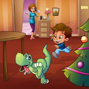 A young boy gets a dinosaur this holiday season, in, I Want a Tyrannosaurus For Christmas, by Max Hawthorne
