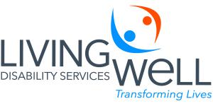 "Orange and Blue lettering of Living Well Disabilities Logo with ""transforming lives"" beneath"