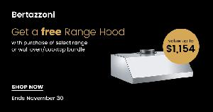 Free Bertazonni Range Hood with Qualifying Purchase at the Appliances Connection 2017 Black Friday Sale