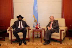 President of south sudan salvir kiir  with UN Secretary-General, Antonio Guterre