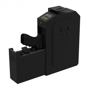 Shown here, open, new GunVault SpeedVault presents a securely staged handgun in ready-to-fire position, thanks to spring-action slide-out internal housing. Green lighting on entry keypad indicates correct code was entered to trigger unit to open and present pistol.