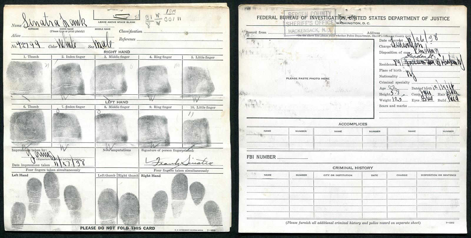 Frank Sinatra S Fingerprint Card From A 1938 Arrest And A