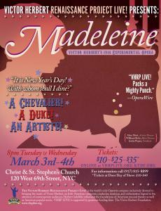 VHRP LIVE! Presents Madeleine March 3rd & 4th in NYC, 8PM at Christ & St. Stephen's Church
