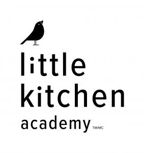 Black and white little kitchen academy logo with a small black bird and the company name
