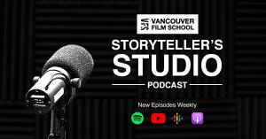 The VFS Storyteller's Studio Podcast is now available for viewing and listening on popular streaming platforms including YouTube, iTunes, Spotify, and Google Play.