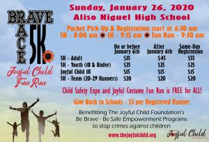 Details for The Joyful Child's BRAVE RACE 5K, 1K, and Fun Run for ALL 1/26/20