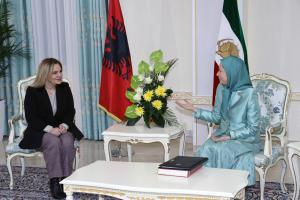 Ashraf-3, Albania, January 29, 2020 - Mrs. Monika Kryemadhi, Chairwoman of the Socialist Movement for Integration Party (Left), heading a delegation of the party in her visit to Ashraf-3 and meeting with Mrs. Maryam Rajavi, the NCRI President-elect