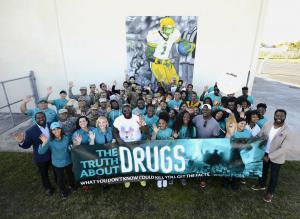Drug-Free World volunteers at the ceremony launching the new mural at Miami's Jackson High School