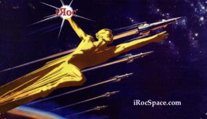 Golden Statue with iROC Comet Flying Among Rockets In The Race to Space
