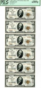 Reno, Nevada. 1929 Type 2, $10, Uncut Sheet of 6 Notes, Ch# 7038, S/N A006487 - A006492, Plate A-F 218/214, Jones | Woods signatures, PCGS graded Choice Uncirculated 63 PPQ. Rare as a sheet and in high grade.