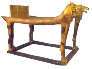 Ancient Egyptian sled bed with lion heads found inside gold-covered tooms