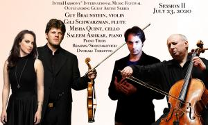 Saleem Ashkar, piano, Guy Braunstein, violin, and Misha Quint, cello, perform Shostakovich: Piano Trio No.2 and Brahms: Piano Trio No.3 at InterHarmony in July