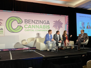 (L-R) Fyllo CEO Chad Bronstein, Driven Deliveries CEO Christian Schenk, and Akerna CEO Jessica Billingsley, are interviewed by moderator Mike Varney of Crowe during the Benzinga Cannabis Capital Conference in Miami Beach, Florida.