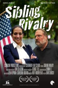 "Poster for ""Sibling Rivalry,"" a film about brother and sister competing in a small town election."