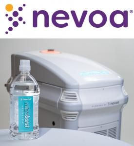 Nevoa's smart disinfection technology uses Hypochlorous Acid to disinfect hospital patient rooms, killing pathogens such as COVID-19.