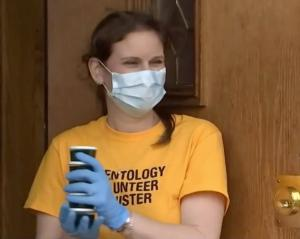 Scientology Volunteer Ministers helped at the weekly Justice and Dignity Center giveaway. This week, volunteers handed out concentrated disinfectant to local residents. (KCTV News 5 Kansas City)