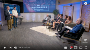 Axle AI cofounders Sam Bogoch and Patrice Gouttebel present for Tim Draper and the Meet the Drapers panelists
