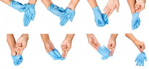 Proper use of protective gloves helps prevent COVID-19 spread.
