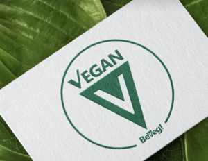 Global Vegan Certification Symbol by BeVeg. The certified vegan logo for plant-based food safety and sustainability. Represents sanitary products and conditions uncontaminated by animals.