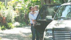 "Eighteen days after Miami Mayor Francis Suarez revealed he tested positive for COVID19, he arrives home where he hugs and kisses daughter Gloriana after 44-year-old leader of America's ""Magic City"" was released from quarantine following new test results t"