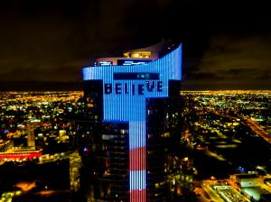 "100-Yard Tall ""Believe"" Lyric from Pitbull Anthem ""Believe That We Will Win"" Global Anthem Appears on Massive LED Animation Display at Paramount Miami Worldcenter Tower (Bryan Glazer 
