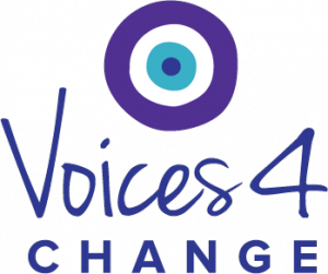 "Logo created for Voices4Change features concentric circles symbolizing community coming together -  in teal and purple, colors representing the ""NoMore"" campaign and Domestic Violence Awareness"