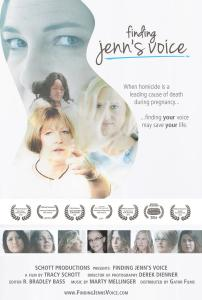 Fining Jenn's Voice Film Poster featuring photos of survivors of intimate partner homicide and a silhouette of a pregnant woman.