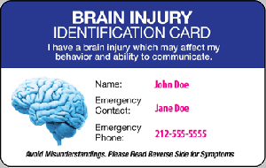brain injury ID card - front