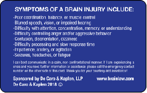 brain injury ID card - back