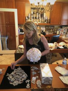 JoAnne Maggio of Glam Bouquet to design and create a unique and one of kind wedding bouquet to use for her wedding where she will be marrying James M. Irvine