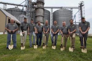 Alliance Feed Groundbreaking Ceremony (left to right)Jerel Shively, Dennis Shively, Andrew Shively, Chris Kenyon, Kevin Still, Adam Shively, Dewey, Trent Shively, and Ben Shively