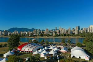 Bard on the Beach festival tents set up in Vanier Park in Vancouver, British Columbia