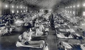 Photo of sick soldiers laying in rows at Fort Funston, Kansas.