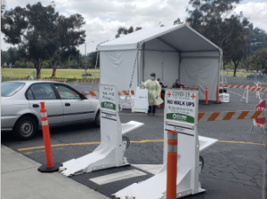 Meridian barriers protect healthcare workers at mobile testing site