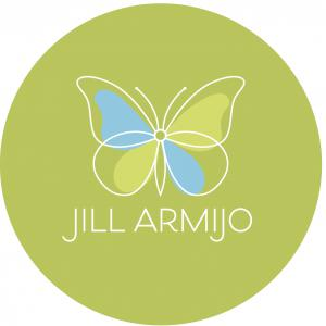 "Light blue and light green coloring on a white bordered butterfly symbol over a field of darker green. The name ""Jill Armijo"" is placed beneath in white lettering."