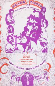 Allman Brothers Frank Zappa concert poster Tully Gymnasium 10/9/70